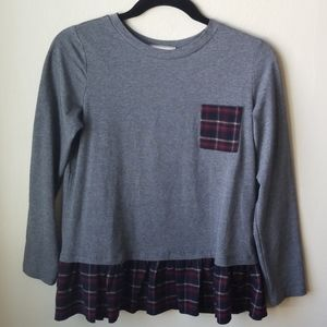 Gray shirt with navy plaid ruffle, like new, 14